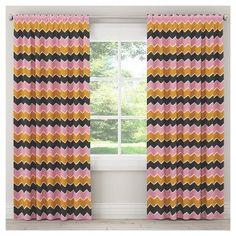 "Brush Chevron Blackout Curtain Panel (84""x50"") Pink & Yellow - Skyline Furniture"