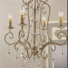 Shabby Vintage Metal Crystal Chandelier - traditional - chandeliers - - by Amazo. Shabby Vintage M Country Chandelier, Kitchen Chandelier, Chandelier Lamp, Country Chic, Country Decor, French Country, Rustic Chic, Vintage Crystal Chandelier, Crystal Chandeliers