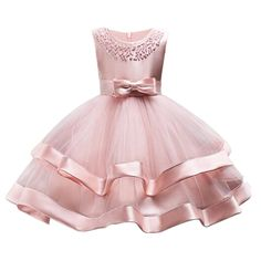 Rose Petals Flowers and Bow Dress for special occasions //Price: $11.83 & FREE Shipping //     #girlsdresses Girls Evening Dresses, Baby Girl Party Dresses, Girls Dress Up, Evening Dresses For Weddings, Pageant Dresses, Party Gowns, Little Girl Dresses, Baby Dress, Lace Bridesmaid Dresses