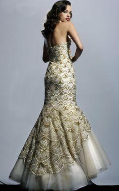 beautiful gold mermaid wedding dress