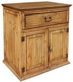 This stylish Two-Door Sink Vanity features an open back for easy installation in your bathroom. The exterior of distressed solid pine creates a southwestern style that goes well in any bathroom. Rustic Pine Furniture, Furniture Wax, Brown Furniture, Unique Furniture, Rustic Wood, Wood Sink, Wood Vanity, Vanity Sink, Cheap Bathroom Vanities