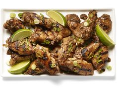 Spicy Rum Chicken Wings recipe from Eddie Jackson via Food Network (made with habanero peppers, soy sauce, lime juice, brown sugar and ginger)