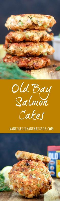 Old Bay Salmon Cakes bring a taste of Maryland to your table! Fresh chunks of salmon are the key to these delicious cakes that your whole family will love. Top with avocado salsa for a perfect lunch or light dinner #seafood #salmon #oldbay #panfried #grilled #karylskulinarykrusade