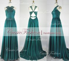2014 Long Chiffon Straps Prom Dress,Formal Dress,Evening Dress,Evening Gowns,Bridesmaid Dress,Wedding Dress on Etsy, $139.00