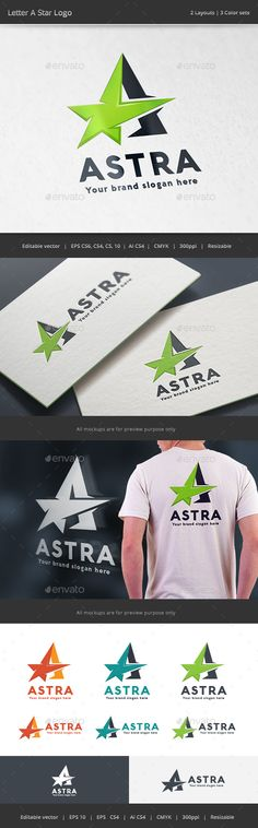 Letter A Star  Logo Design Template Vector #logotype Download it here: http://graphicriver.net/item/letter-a-star-logo/15670379?s_rank=26?ref=nesto