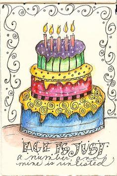 letter cake geburtstag Art du Jour by Martha Lever: Journal cake---no calories! Happy Birthday, Birthday Greetings, It's Your Birthday, Birthday Wishes, Birthday Cards, Birthday Images, Birthday Quotes, Doodles Zentangles, Zentangle Patterns