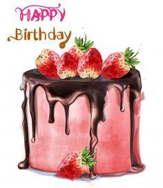 Happy birthday delicious strawberry cake vector image on VectorStock Happy Birthday Art, Happy Birthday Wishes Cards, Birthday Wishes And Images, Vintage Birthday, Birthday Quotes, Birthday Cards, Watercolor Cake, Simple Watercolor, Tattoo Watercolor