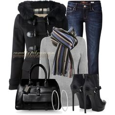 """""""Burberry Brit Duffle Coat & Striped Scarf"""" by casuality on Polyvore"""