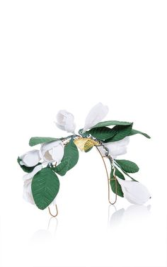 Francesco Ballestrazzi White Cotton Magnolia Crown by Francesco Ballestrazzi for Preorder on Moda Operandi