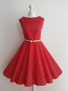 Petticoat Kleid mit Punkten, 50er/60er // polka dot petticoat dress via DaWanda.com