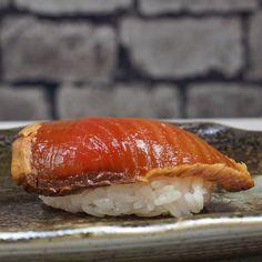 First time making sushi first piece of Nigiri. (Zuke Katsuo marinated skipjack tuna) #sushi #food #foodporn #japanese #Japan #dinner #sashimi #yummy #foodie #lunch #yum