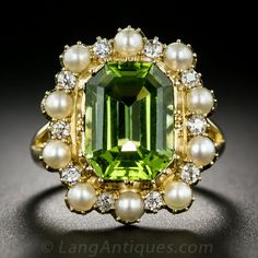 Vintage Peridot, Pearl and Diamond Ring ~ ♥♥♥