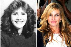 Julia Roberts then and now Celebrities Before And After, Celebrities Then And Now, Young Celebrities, Hollywood Celebrities, Celebs, Hollywood Stars, Classic Hollywood, Celebrity Yearbook Photos, Childhood Photos