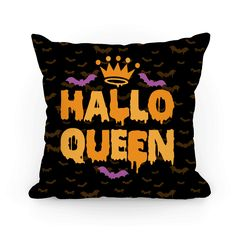 "This funny halloween pillow features a crown, bats, and the words ""hallo-queen"" and is perfect for wearing this fall and especially during Halloween! Ideal for trick-or-treating, eating candy, watching scary movies and Halloween favorites like Hocus Pocus, drinking all sorts of alcoholic potions, and hanging out with ghosts, goblins, witches, demons, black cats, or just staying home carving pumpkins!"