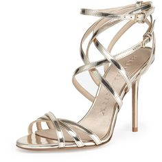 Burberry Strappy Metallic Sandal (2,300 PEN) ❤ liked on Polyvore featuring shoes, sandals, heels, kengät, sapato, light gold, strappy heel sandals, metallic strappy sandals, high heel shoes and strappy sandals