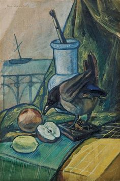 Felix Nussbaum (1904-1944), Still life with crow, 1936, watercolor on paper, 55 x 37cm
