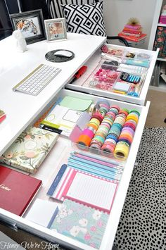 Home office/desk organization inspiration!  I want some of those acrylic organizers, and pretty wrapping paper for underneath...  do that in kitchen drawers, too! IHeart Organizing: UHeart Organizing: A Delightfully Organized Desk