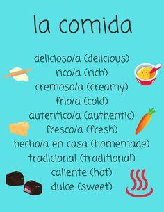 Food Adjectives in Spanish for Spanish 1 Who doesn´t love food? Try out these food adjectives to help explain why you love your favorites! Or make your own menu and include them in the description. Spanish Lessons For Kids, Learning Spanish For Kids, Learn To Speak Spanish, Learn Spanish Online, Study Spanish, Spanish English, Spanish Language Learning, Spanish Activities, Learning Italian