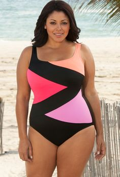 Beach Belle Intensity Plus Size Tricolor Spliced  as promoted at Women's Swimwear Shopping Guide. This plus size swimsuits that can effectively slim your tummy.