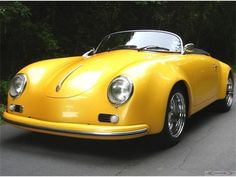 1959 Porsche 356 - Yellow Car #porsche