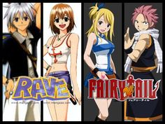 The reason that fairy tail and rave master has so many similarities is that they were created by the same person. That's y the characters look the same and that plue  is in both animes #RightStuf2013