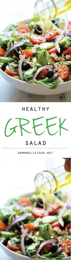 This healthy Greek salad is absolutely amazing when tossed in a light and refreshing lemon vinaigrette! Greek Salad - Greek Salad - This healthy Greek salad is absolutely amazing when tossed in a light and refreshing lemon vinaigrette! Vegetarian Recipes, Cooking Recipes, Healthy Recipes, Pie Recipes, Recipies, Vegetarian Cooking, Healthy Salads, Healthy Eating, Healthy Food