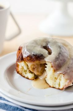 Cinnamon roll doughnuts with cream cheese glaze. Cinnamon rolls and doughnuts had a baby and it. is. glorious!