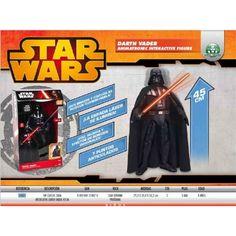 Hazte con esta figura de Darth Vader de gran tamaño y alucina con sus movimientos y sus efectos luminosos y de sonido, con sus frases más míticas.  Siente el lado oscuro a lo grande.  Figura de acción interactiva de Star Wars de Darth Vader, de la saga clásica.