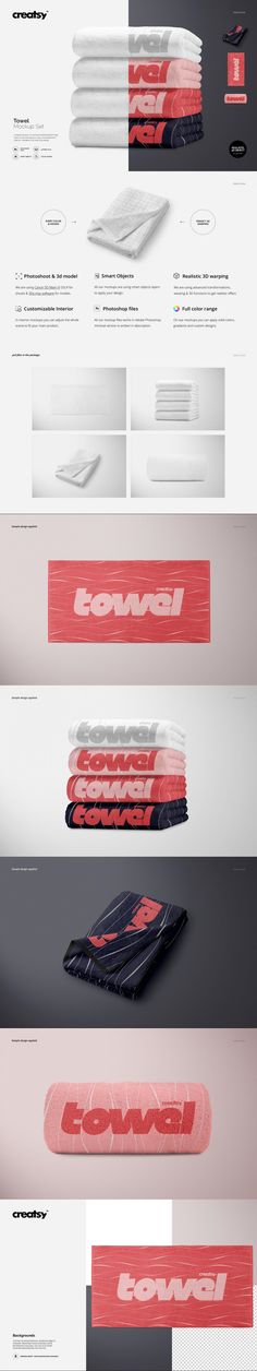 Towel Mockup Set #template #hotel #MockupTemplates #grain #media #leaves #orange #sublimation #apparelprint #personalized #banner #psd #clothinglabelmockup #baby #templates #editable #design #creator #guidelines