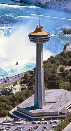 Skylon Tower, Niagara Falls | I stayed on the 20th floor of the Hilton across from this and the falls has changing color lights on them at night. Most awesome!