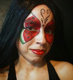 Watermelon Face, Butterfly Face Paint, Halloween Face Makeup, Painting, Ideas, Products, Painting Art, Paintings, Painted Canvas