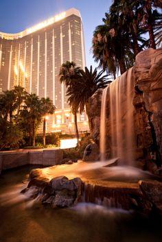 Night view of Mandalay Bay Hotel & Casino and the Four Seasons in Las Vegas, Nevada.