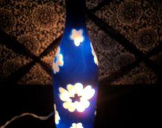 Valentines Day - Hand Painted Wine Bottle Lamp - Blue Lei Flowers - Night Light / Nursery / Lamp/ Lantern/ Luminary