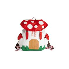 ModCloth Kawaii, Mushrooms, Travel, Quirky, Scholastic Fungi House Backpack ($70) found on Polyvore