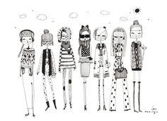 Fashion illustration fashion art print girls room by diarysketches