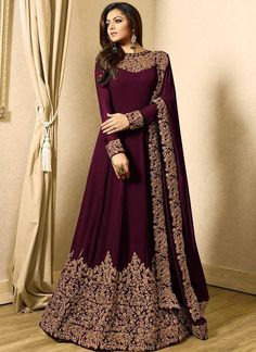 Drashti dhami brown designer anarkali suit online which is crafted from georgette fabric with exclusive zari embroidery. This stunning designer anarkali suit comes with santoon bottom, inner santoon and georgette dupatta. Indian Gowns Dresses, Indian Fashion Dresses, Abaya Fashion, Pakistani Dresses, Indian Outfits, Dress Fashion, Eid Dresses, Suit Fashion, Designer Gowns