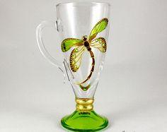 Clear Glass Mug, Irish Coffee Mug, Hand Painted Glass Mug, Tea Mug, Latte Mug, Dragonfly design, Stem glass mug