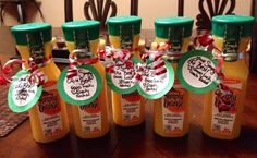 """Good Luck Goodies I made for my team girls for their last preseason meet. Note says, """"You're Simply the Best! Good Luck, <3 Coach Rachel"""". All you need is Simply orange juice, team ribbon colors to curly and hold note."""