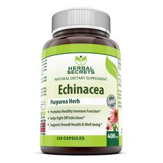 Herbal Secrets Echinacea Supplement – 400 mg Capsules Made from 100% Pure Echinacea Purpurea Root and Plant Extract Powder – Supports Healthy Immune Function and overall Well-being - Capsules Can Be Opened to Prepare Tea - 120 Capsules Per Bottle >>> Amazing product just a click away  : Herbal Supplements