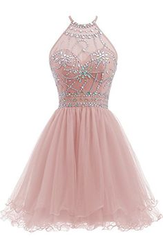 Ellames Womens Beaded Halter Homecoming Dress Short Tulle Prom Dress Blush US 4 -- See this great product. (This is an affiliate link and I receive a commission for the sales) Halter Top Prom Dresses, Pretty Prom Dresses, Hoco Dresses, Tulle Prom Dress, Quince Dresses, Junior Dresses, Dresses For Teens, Homecoming Dresses, Evening Dresses