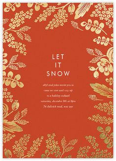 Jardin Noel Border - White - Paperless Post | love the red and gold