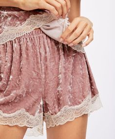 Velvet shorts, - Velvet lace-trimmed shorts with an elastic waistband. - Find more trends in women fashion at Oysho . Lace Trim Shorts, Velvet Shorts, Nightwear, My Design, Underwear, Lingerie, Womens Fashion, Sleep
