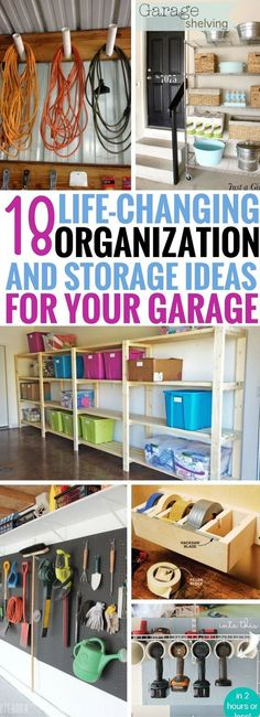 These Garage Organization and Storage ideas have made my life so much BETTER! Seriously, the best garage hacks I've read so far. Easy ways to make sure that your garage never gets cluttered ever again #organizinggarage
