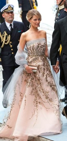 """Tatiana chose a Carolina Herrera gown to attend the wedding of Crown Princess Victoria of Sweden in 2010. """"This was a fairy tale dress - I loved it. The soft colours, the details - the kind of dress I dreamt of as a child."""" Tatiana (now) Princess of Greece and Denmark."""