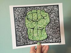 This is a print of a hand drawn zentangle style Hulk! Available in three sizes