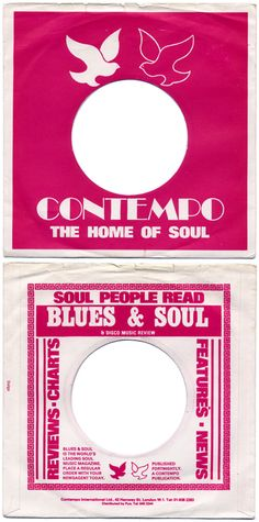 great vinyl record sleeve for contempo 'the home of soul.' lovely doves logo printed raspberry on white. reverse has brilliant advert 'soul people read blues & soul (& disco music review)'