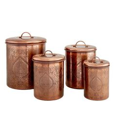 Copper Canisters, Storage Canisters, Jar Storage, Kitchen Storage, Storage Ideas, Kitchen Canister Sets, Copper Kitchen, Buy Kitchen, Food Storage Containers