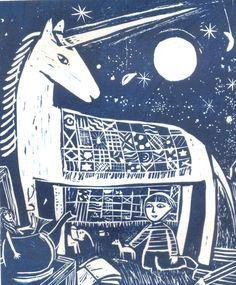 In my Garden at Night, Lino Print by Ed Boxall