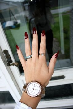 Burgundy Nails.. I don't like them quiiite that long though