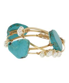 Another great find on #zulily! Turquoise & Pearl Multi-Stone Wire Bangle Set #zulilyfinds